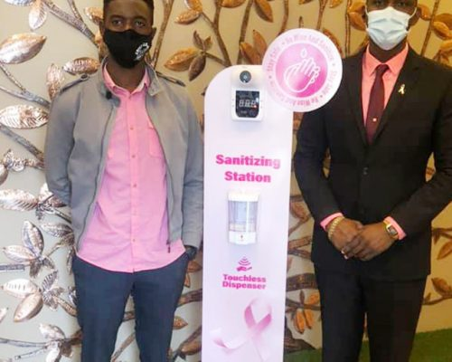 Crisp Clean Maintenance donates customized sanitization station to Cancer Society