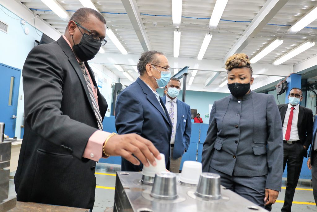 Minister tours the MIC-IT Advanced Manufacturing Workshop. (L-R) Dr. Brian James, GM, Industry Services and Training Divisions; MIC-IT Chairman, Professor Clément Imbert; MIC-IT CEO, Mr. Anil Ramnarine; Minister of Education, Dr. the Honourable Nyan Gadsby-Dolly and Mr. Randy Monilal, GM, Corporate Services.